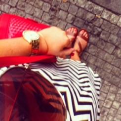 Tan Sandals: Newlook Watch: Fossil Bangle: Alex & Ani