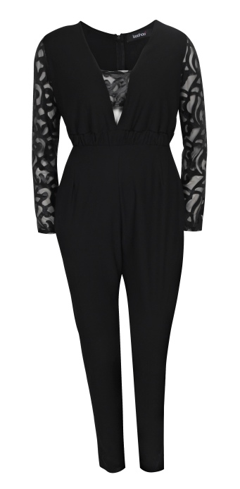 boohooPLUS BLACK LACE JUMPSUIT €40